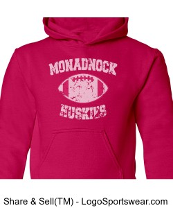 Huskies Football - Youth Pink Sweatshirt Design Zoom