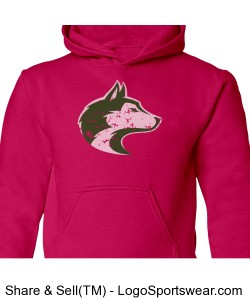 Husky Head - Youth Pink Sweatshirt Design Zoom